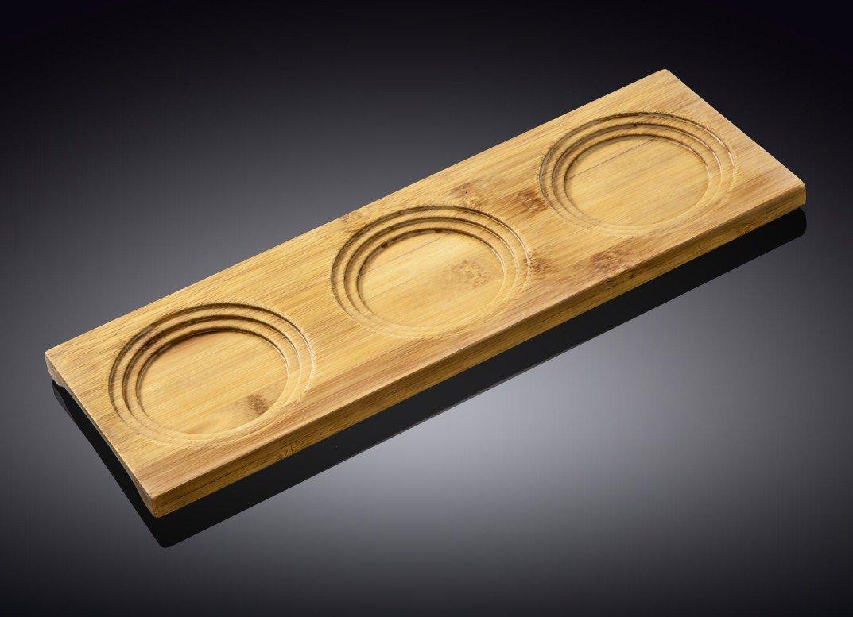 Поднос бамбуковый Wilmax 3 секции, 30 x 10 см