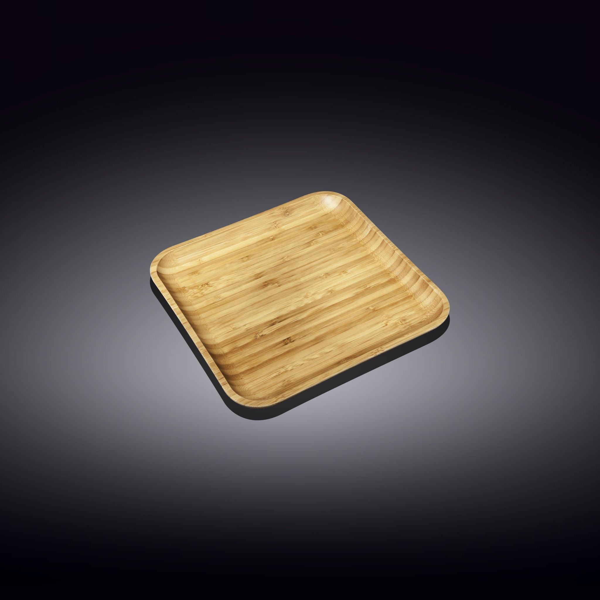 Тарелка бамбуковая Wilmax сервировочная квадратная 10 x 10 см