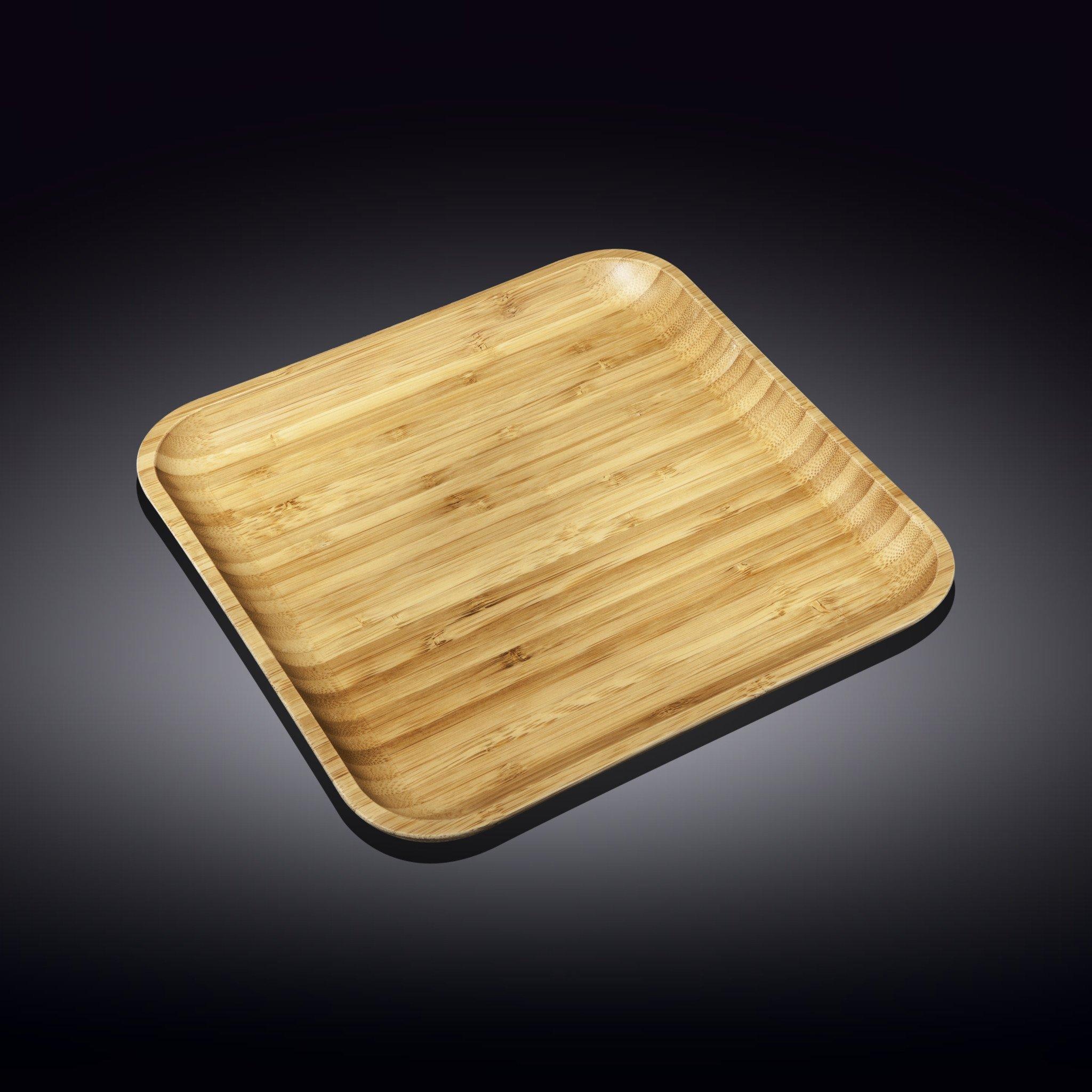 Тарелка бамбуковая Wilmax сервировочная квадратная 30,5x 30,5 см