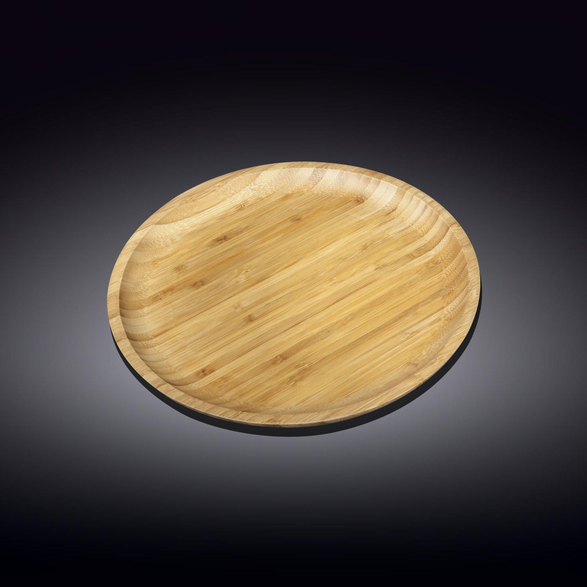 Тарелка бамбуковая Wilmax сервировочная круглая 23 см