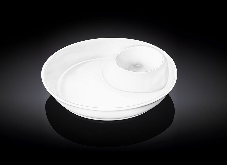 Тарелка глубокая с секцией для соуса  круглая 25,5 см.