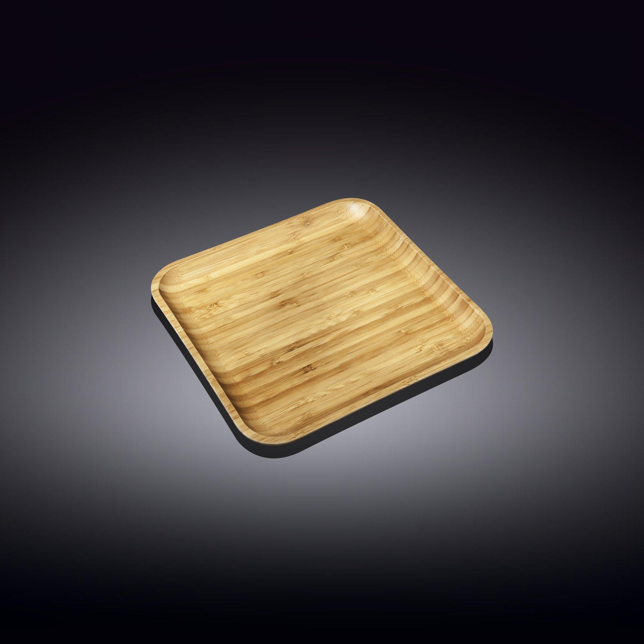 Тарелка бамбуковая Wilmax сервировочная квадратная 12,5 x 12,5 см
