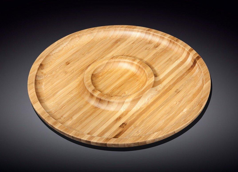Сервировочное блюдо 25 см Wilmax бамбуковое 2-х секционное круглое