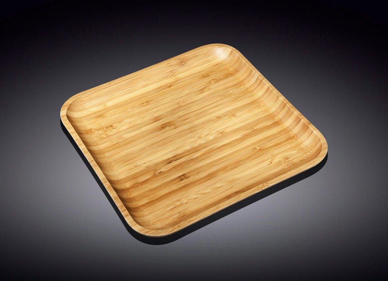 Тарелка бамбуковая Wilmax сервировочная квадратная 25,5x 25,5 см