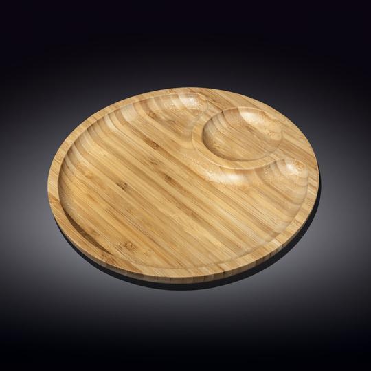 Тарелка бамбуковая Wilmax сервировочная круглая 2 секции 20,5 см