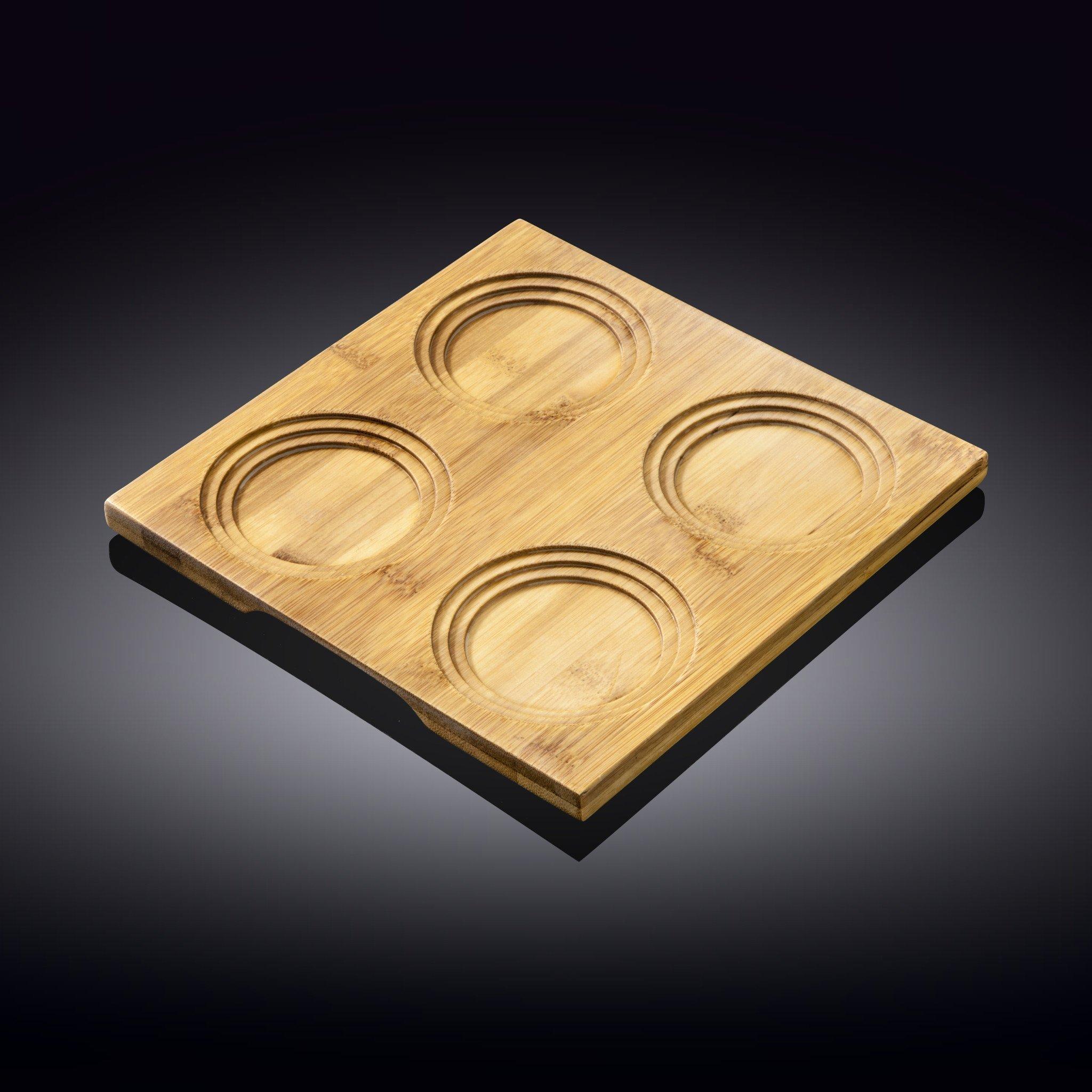 Поднос бамбуковый Wilmax 4 секции, 20 x 20 см