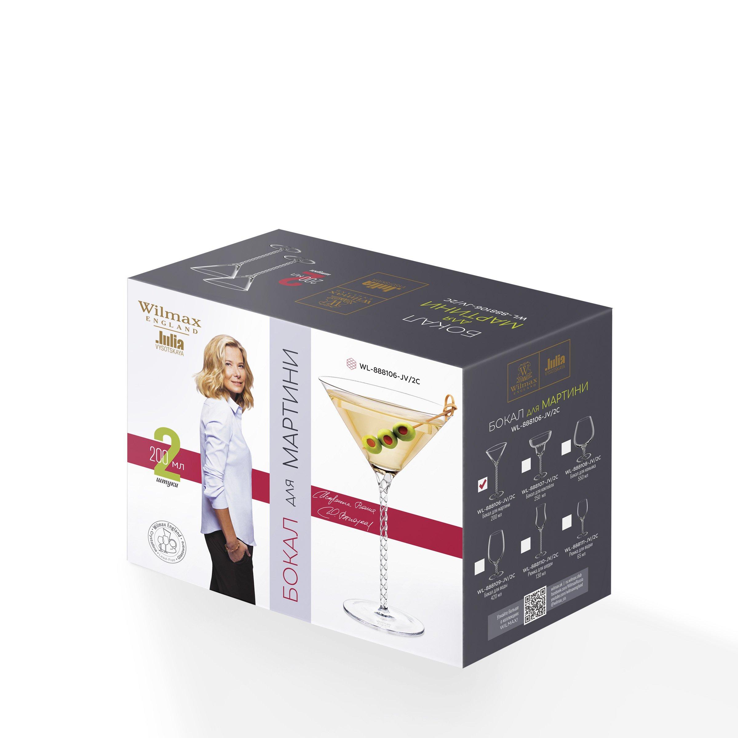 Набор бокалов 200 мл от Юлии Высоцкой Wilmax для мартини  2 шт цв. уп.