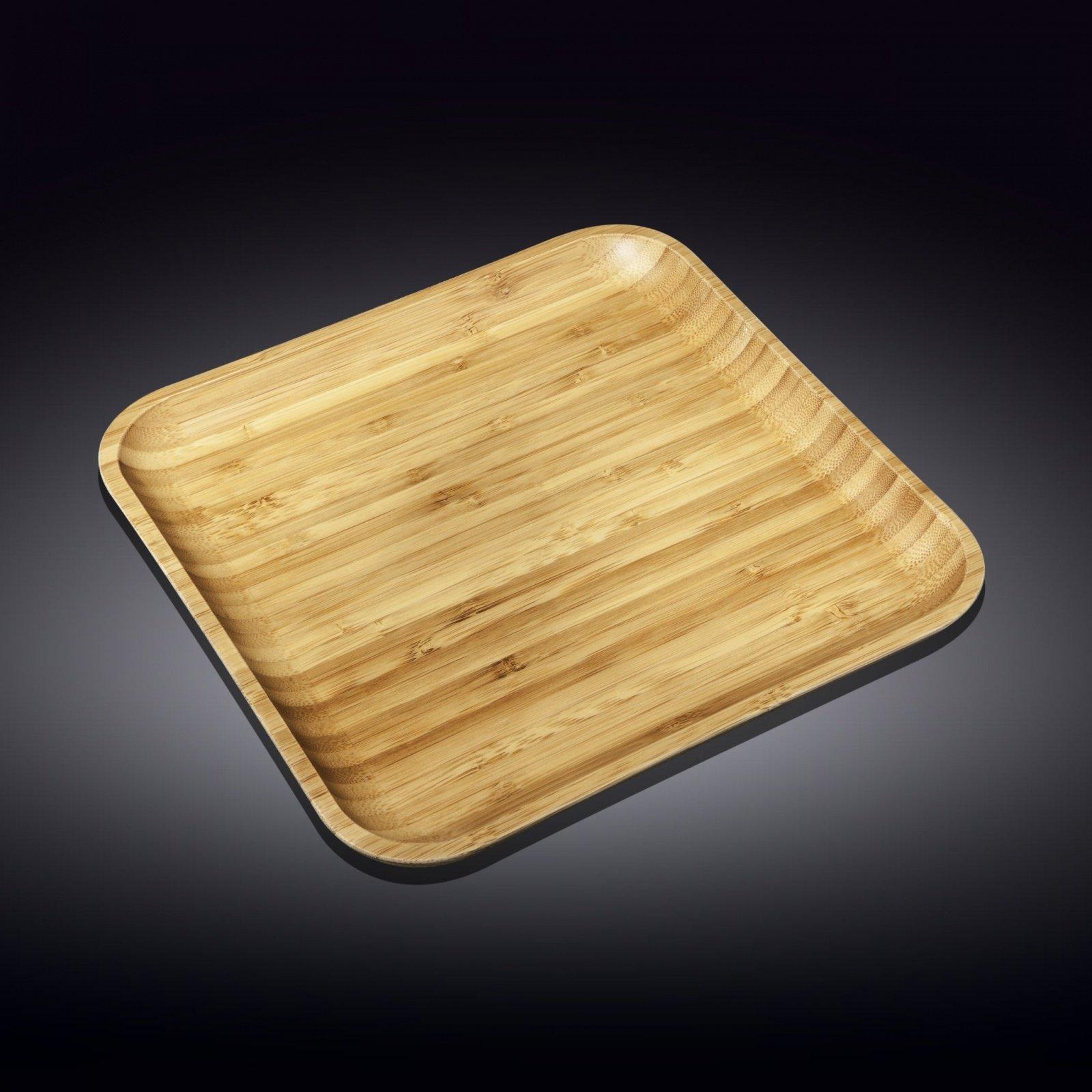 Тарелка бамбуковая Wilmax сервировочная квадратная 35,5 x 35,5 см
